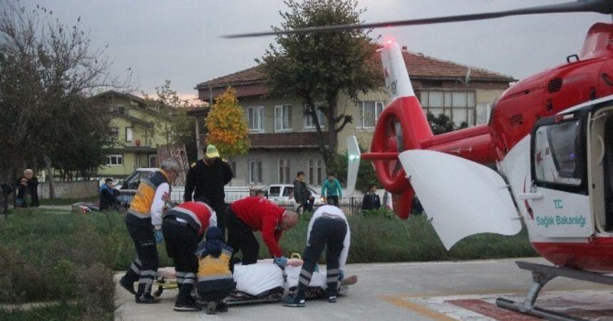 Vatandaşın imdadına hava ambulansı yetişti