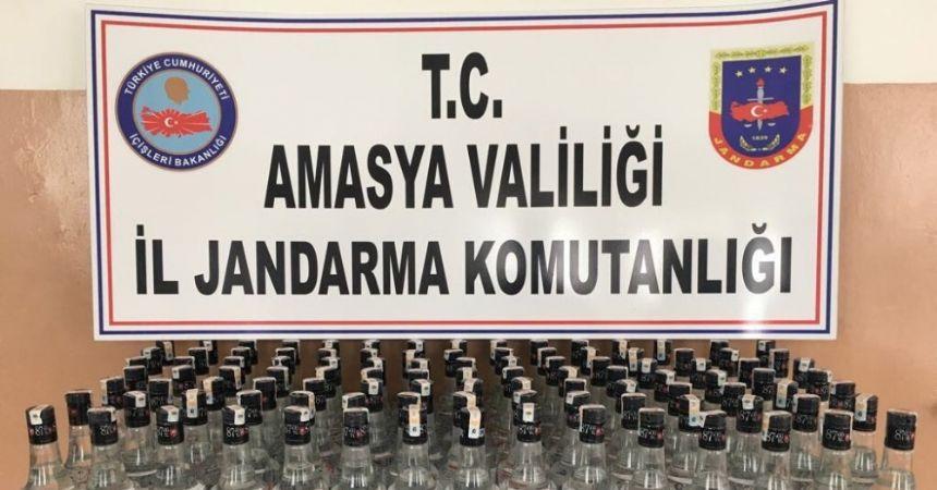 Amasya'da 107 şişe kaçak içki ele geçirildi