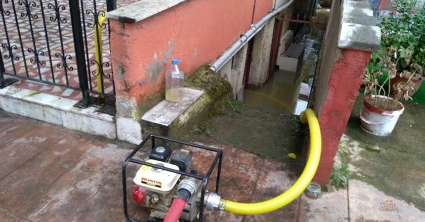 Ordu'da ev ve işyerlerini su bastı