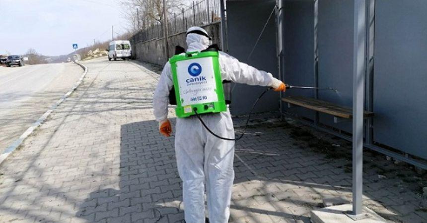 Canik'te kırsal dezenfektesi