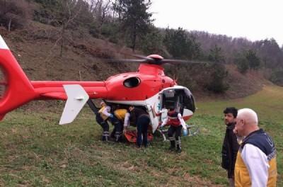 Ağaçtan düştü helikopter yetişti