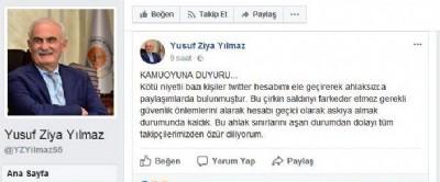 Başkan Yılmaz'a twitter şoku