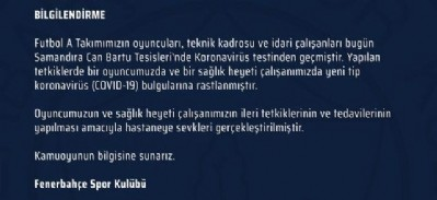 Fenerbahçe'de Kovit-19 şoku