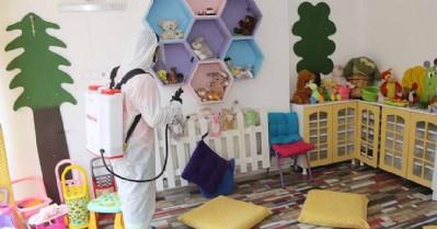 Kreş ve ana okulları dezenfekte edildi